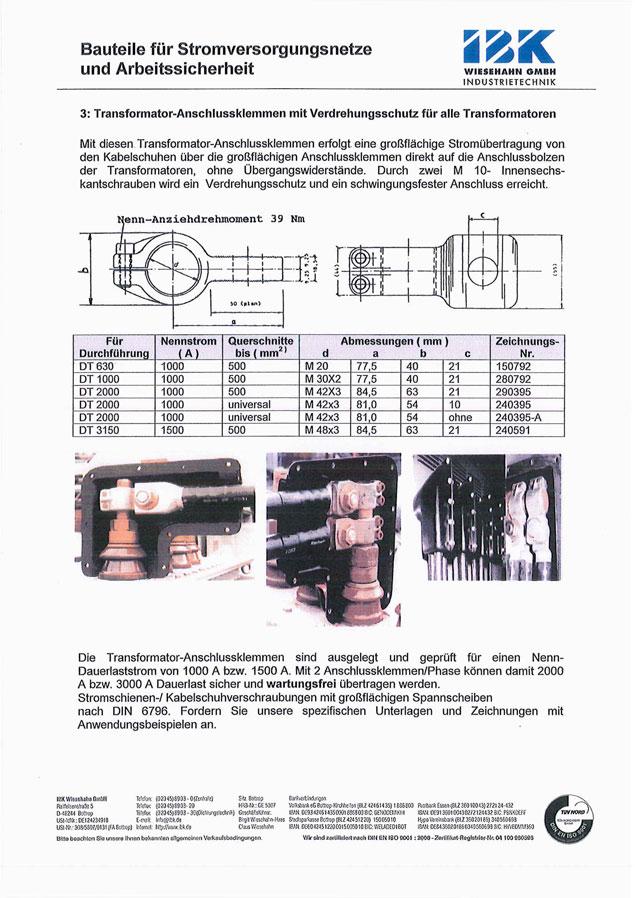 Transformator-Anschlussklemmen